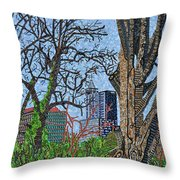 Raleigh - View From Chavis Park Throw Pillow