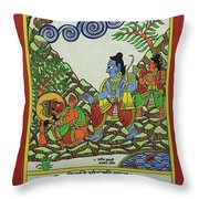 Ram Hanuman Milan Throw Pillow