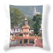 Ram Statue - Rishikesh India Throw Pillow