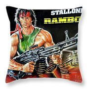 Rambo 2 Sylvester Stallone Paintinf Throw Pillow