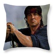 Rambo Sylvester Stallone Throw Pillow