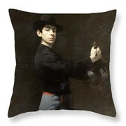 Ramon Casas - Self-portrait  2 Throw Pillow