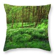 Ramsons And Bluebells, Bentley Woods Throw Pillow