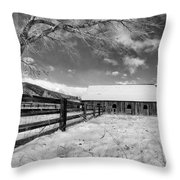Ranch In Winter Throw Pillow