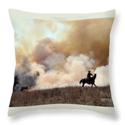 Rancher Starting A Controlled Burn Throw Pillow