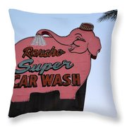 Rancho Super Car Wash  Throw Pillow