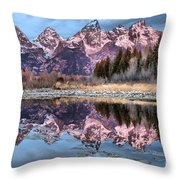 Grand Teton Snow Capped Reflections Throw Pillow