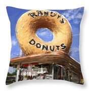 Randy's Donuts Throw Pillow by Russell Pierce