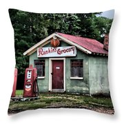 Rankins Grocery In Watercolor Throw Pillow