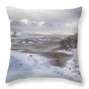 Rannoch Moor Winter Throw Pillow