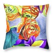 Ranunculus And Iris Throw Pillow