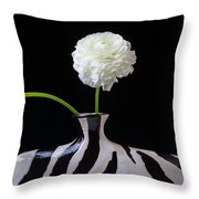 Ranunculus In Black And Whie Vase Throw Pillow