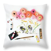 Ranunculus With First Watercolor Throw Pillow