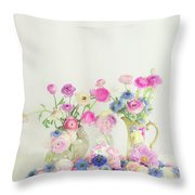 Ranunculus With Love In A Mist Throw Pillow