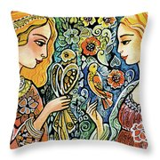 Raphael And Medieval Bird Throw Pillow