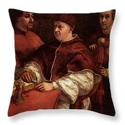 Raphael Pope Leo X With Cardinals Giulio De  Medici And Luigi De  Rossi Throw Pillow