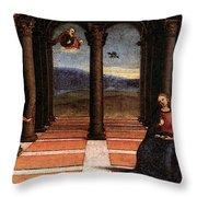 Raphael The Annunciation  Oddi Altar Predella  Throw Pillow
