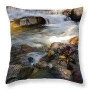 Rapids And Boulders Throw Pillow