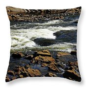 Rapids And Rocks Throw Pillow