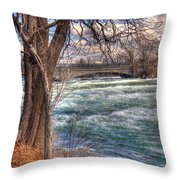 Rapids In Fall Throw Pillow