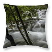Rapids In Forest  Throw Pillow
