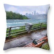 Rapids In The Rain Throw Pillow