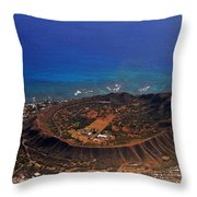 Rare Aerial View Of Extinct Volcanic Crater In Hawaii.  Throw Pillow