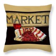 Raspberries At The Market Throw Pillow