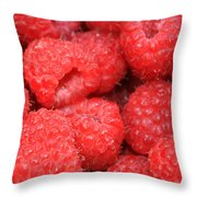 Raspberries Close-up Throw Pillow