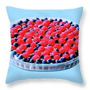 Raspberry And Blueberry Tart Throw Pillow