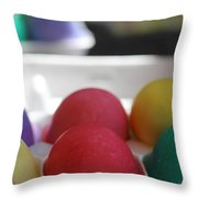 Raspberry And Hawaiian Surf Colored Easter Eggs Throw Pillow