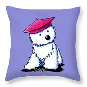 Raspberry Beret Westie Throw Pillow