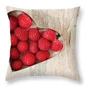 Raspberry Heart Throw Pillow
