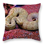 Rattlesnake In Abstract Throw Pillow