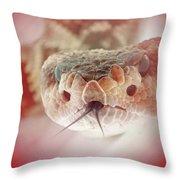 Rattlesnake Red Throw Pillow