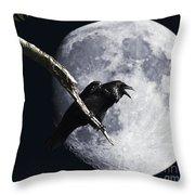 Raven Barking At The Moon Throw Pillow