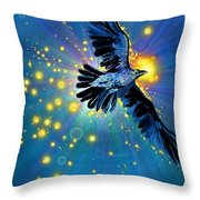 Raven First Bird Throw Pillow