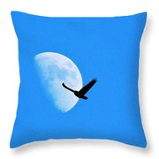 Raven Flys Past Quarter Moon Throw Pillow