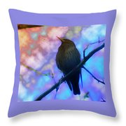 Raven In Spring Throw Pillow