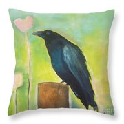 Raven In The Garden Throw Pillow