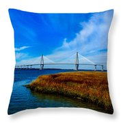 Ravenal Bridge Charleston South Carolina Throw Pillow