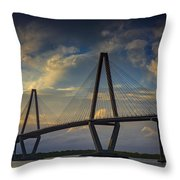Ravenel Bridge Sunset Throw Pillow