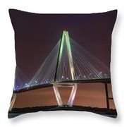 Ravenel Bridge Twilight Throw Pillow