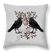 Ravens And Anatomical Heart Throw Pillow