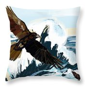 Ravens And The Stormy Sea Throw Pillow