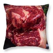 Raw Beef Steak Throw Pillow