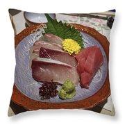 Raw Fish Sashimi Plate - Kyoto Japan Throw Pillow