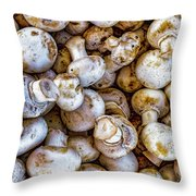 Raw Mushrooms Throw Pillow