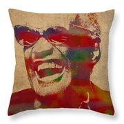 Ray Charles Watercolor Portrait On Worn Distressed Canvas Throw Pillow
