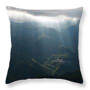 Rays Of Light In The Clouds - Raggi Di Luce Tra Le Nuvole Dell'alta Via Dei Monti Liguri Throw Pillow
